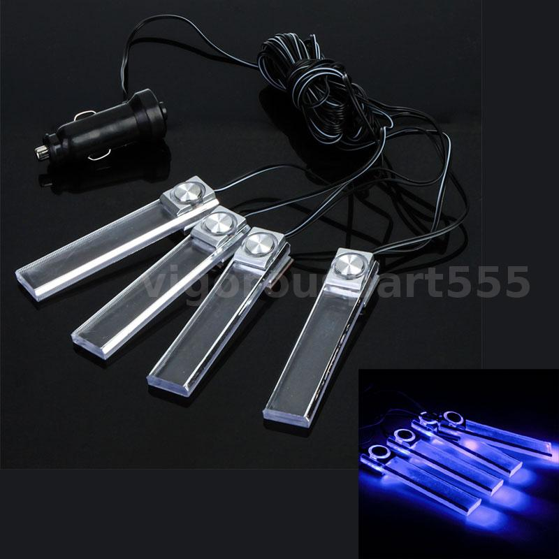 4 led car interior decorative floor dash lights cigarette lighter lamp blue vt ebay. Black Bedroom Furniture Sets. Home Design Ideas