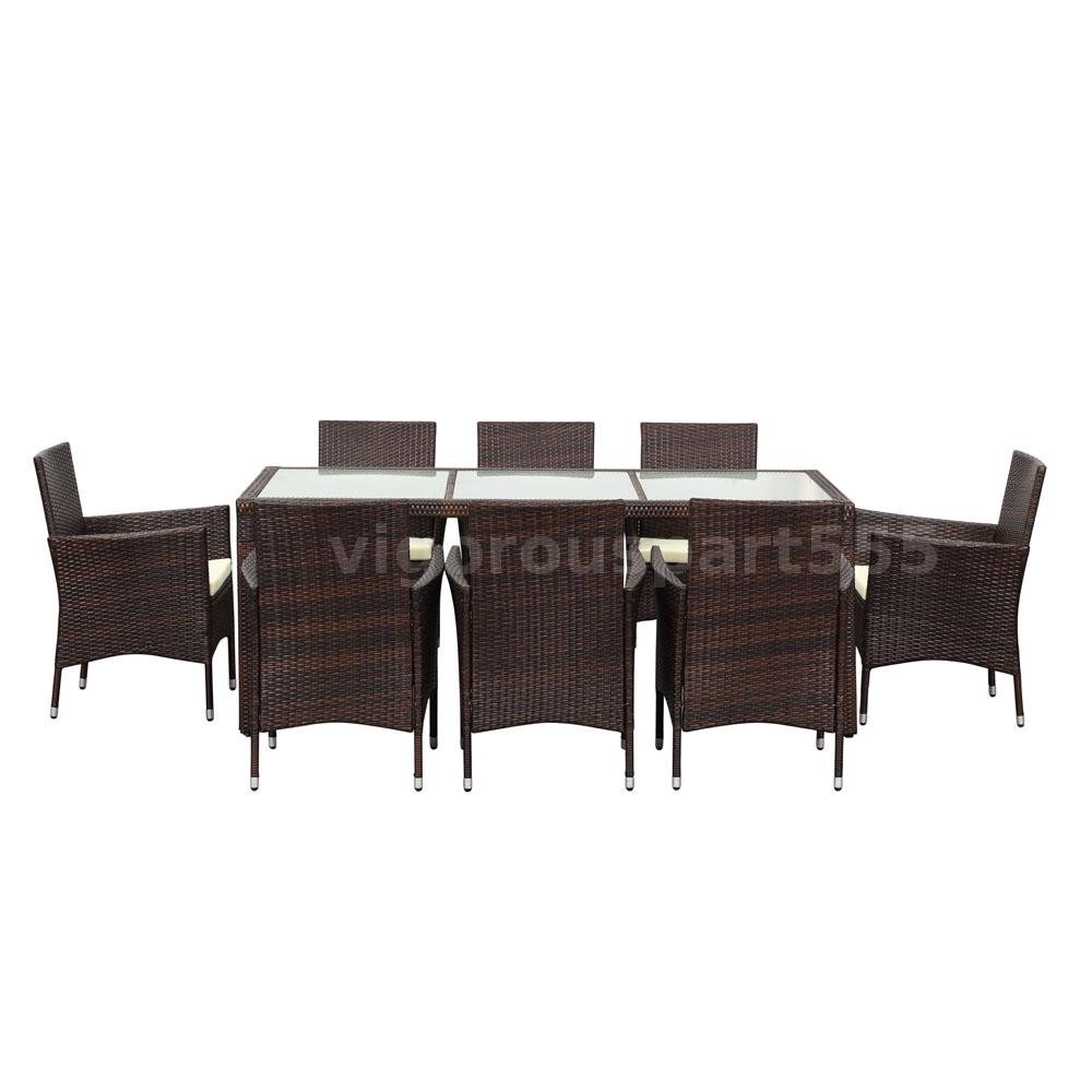 ikayaa 9pcs rattan patio balkon tisch st hle set gartenm bel esstisch set p2p8 ebay. Black Bedroom Furniture Sets. Home Design Ideas