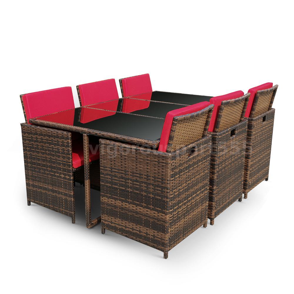 ikayaa 11pcs rattan gartenm bel set esstisch st hle set mit rot sitzkissen g5t0 ebay. Black Bedroom Furniture Sets. Home Design Ideas