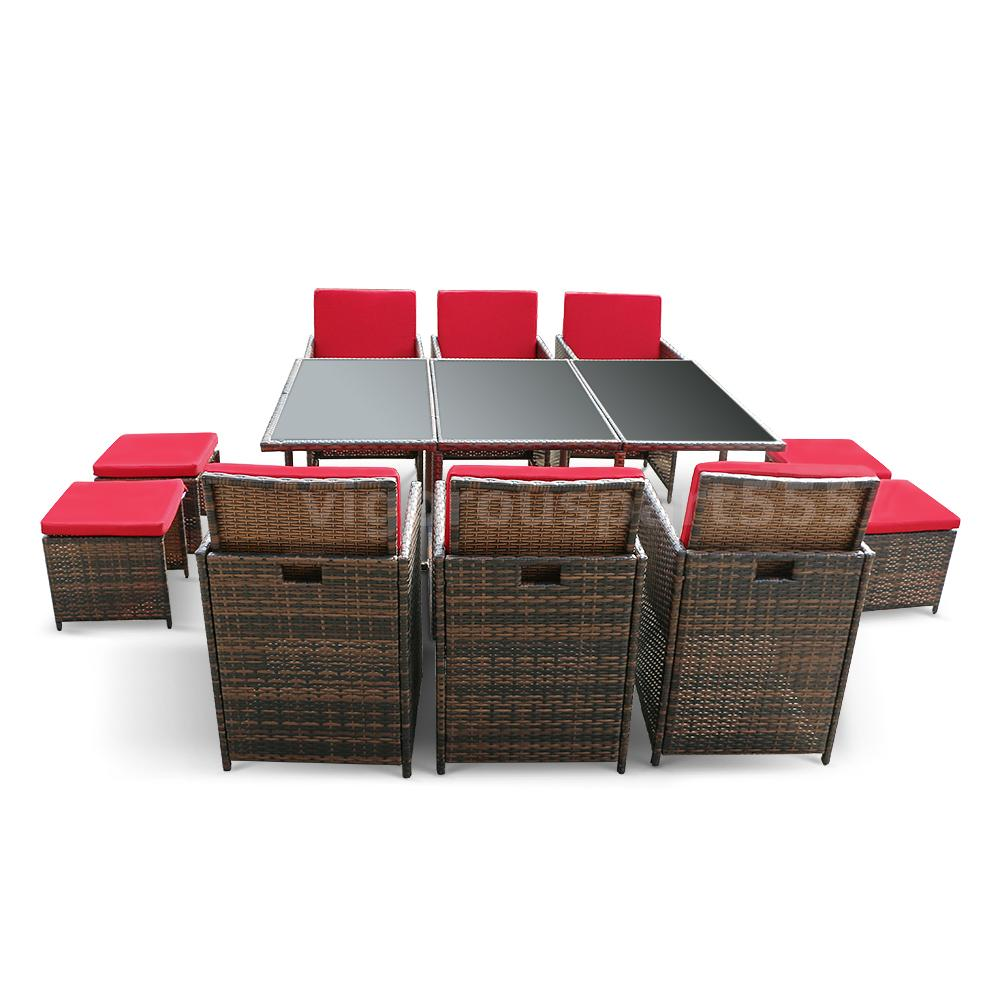 ikayaa 11pcs rattan gartenm bel set esstisch st hle set mit rot sitzkissen g5t0 ebay. Black Bedroom Furniture Sets. Home Design Ideas