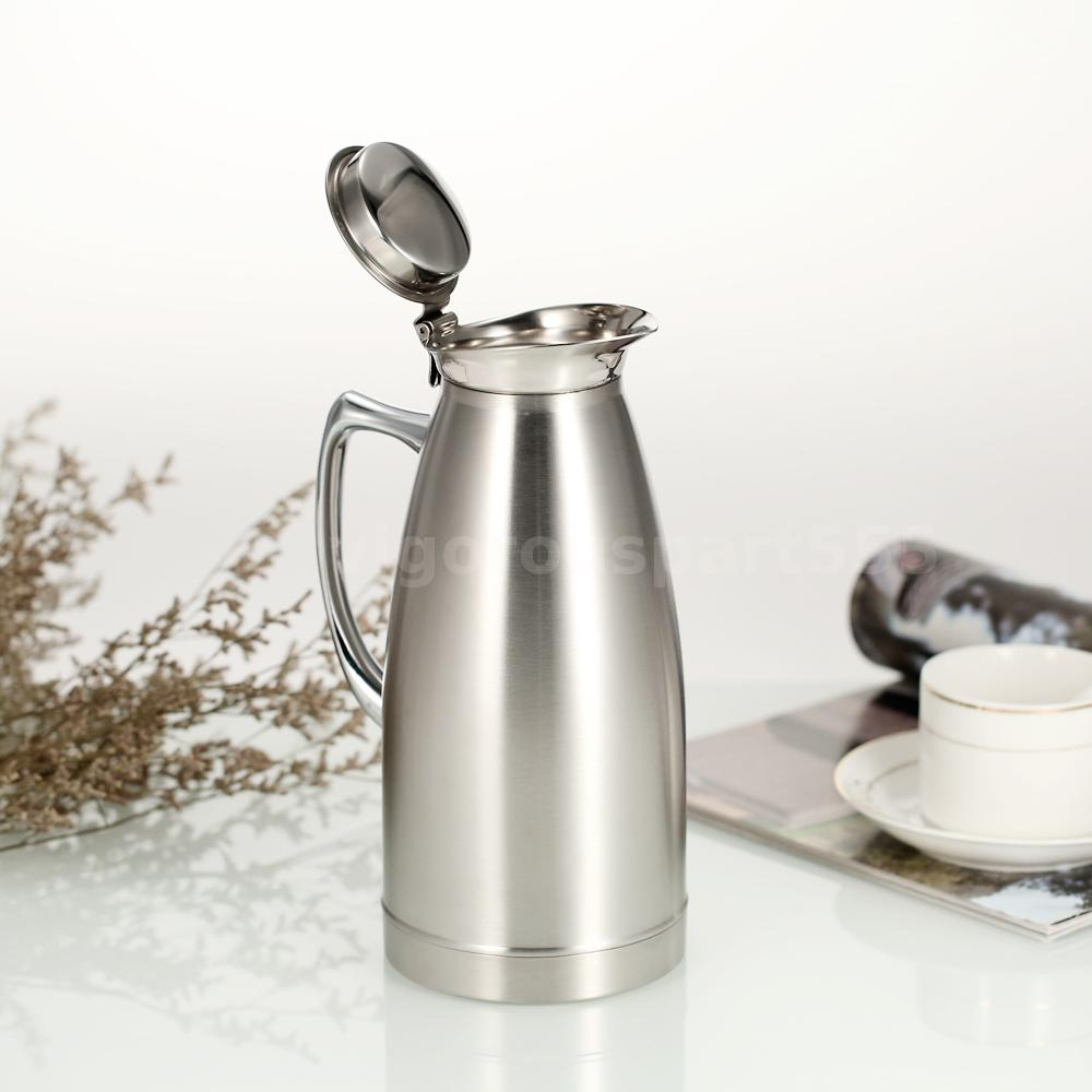 Vacuum Coffee Maker Metal : Hot 1L/1.5L Silver Stainless Steel Vacuum Insulated Teapot Coffee Water Pot X9X8