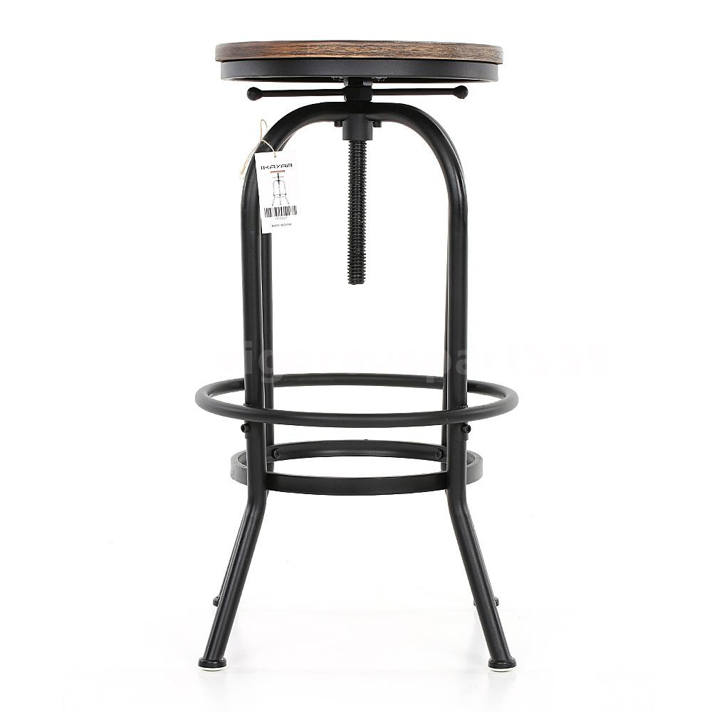 Industrial vintage bar stool wood adjustable height swivel kitchen barstool q7l7 ebay for Chaise de bar ajustable