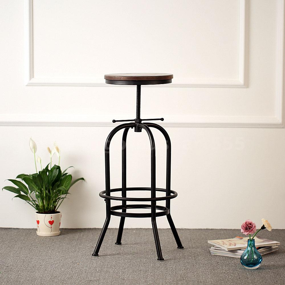 Industrial Wood Adjustable Seat Barstool High Chair: Industrial Vintage Bar Stool Wood Adjustable Height Swivel