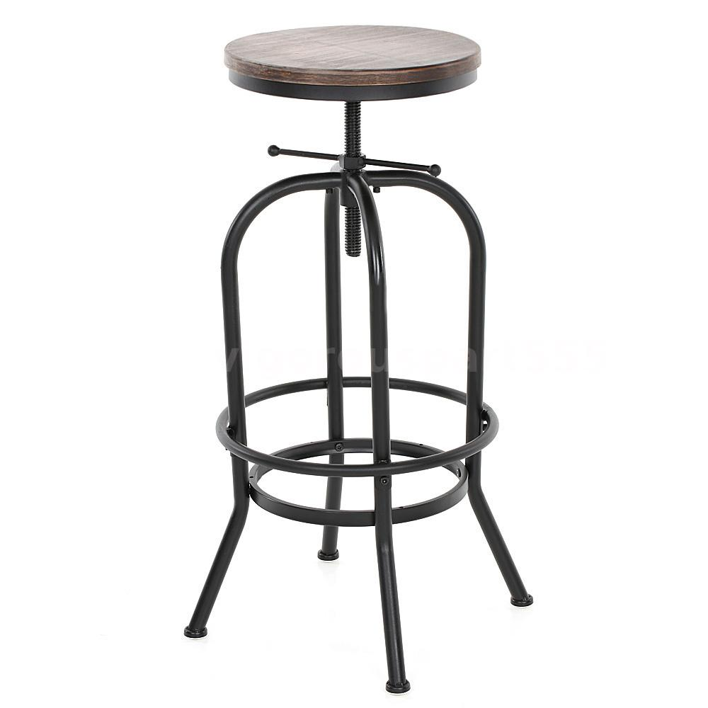 Industrial Vintage Bar Stool Wood Adjustable Height Swivel Kitchen Barstool Q7l7 Ebay