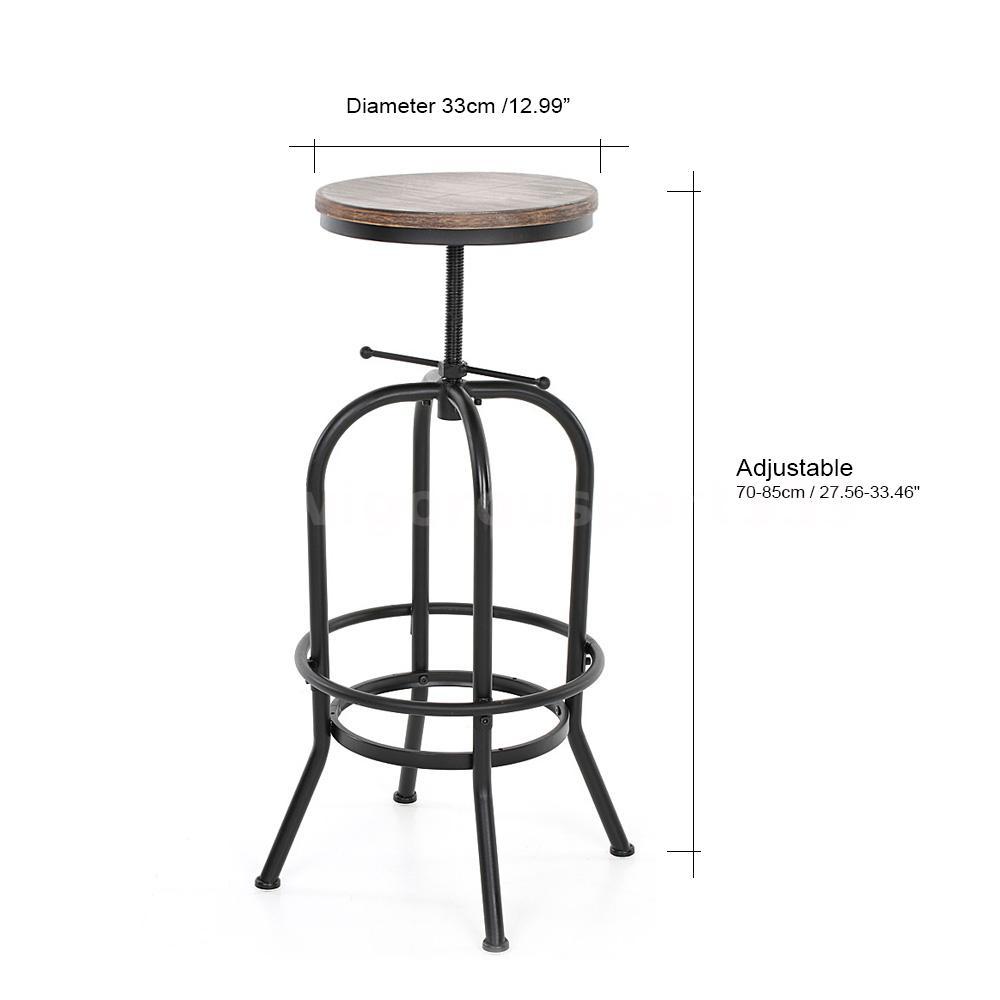Vintage Bar Stool Adjustable Seat Height Counter Top Chair: Industrial Vintage Bar Stool Wood Adjustable Height Swivel