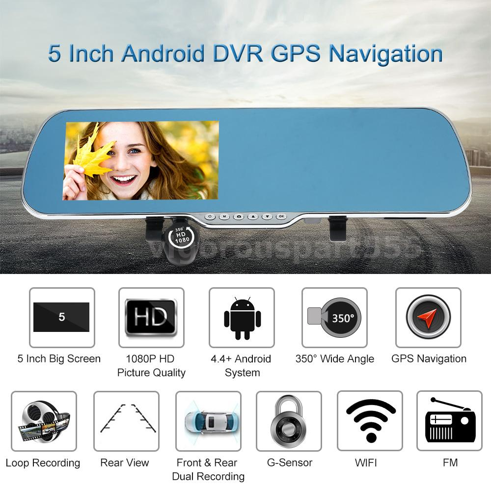 """5/"""" HD Android GPS Navigation Car Rearview Mirror DVR Dual Lens Camera Free Map"""