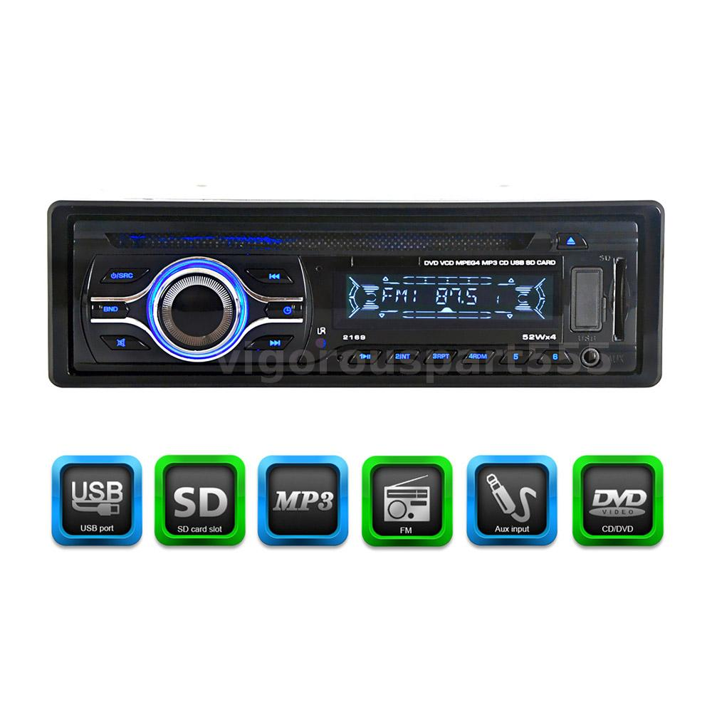 remote cd dvd mp3 mp4 player fm radio in dash aux input sd usb port universal ebay. Black Bedroom Furniture Sets. Home Design Ideas