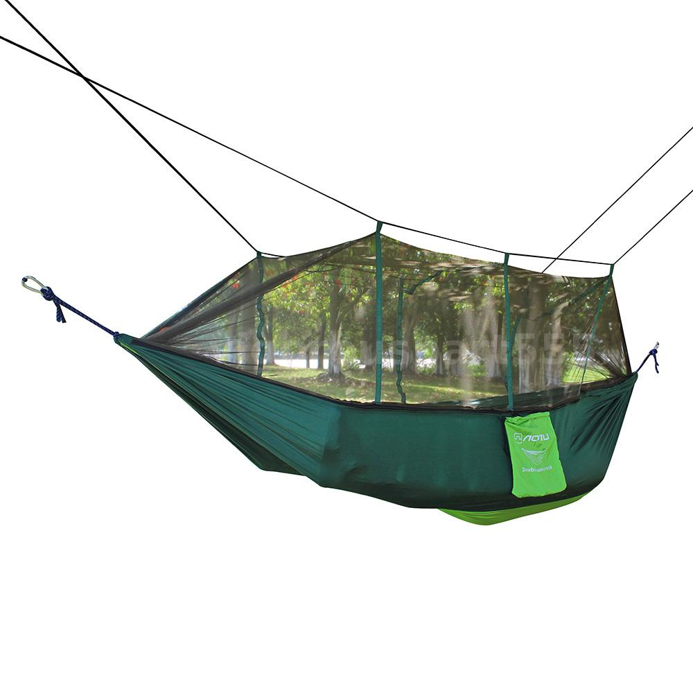 Nylon outdoor camping hammock double mosquito net patio for Net hammock bed