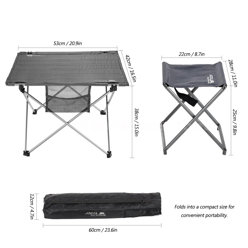 Ultralight Aluminum Roll Up Table Foldable Outdoor Camping