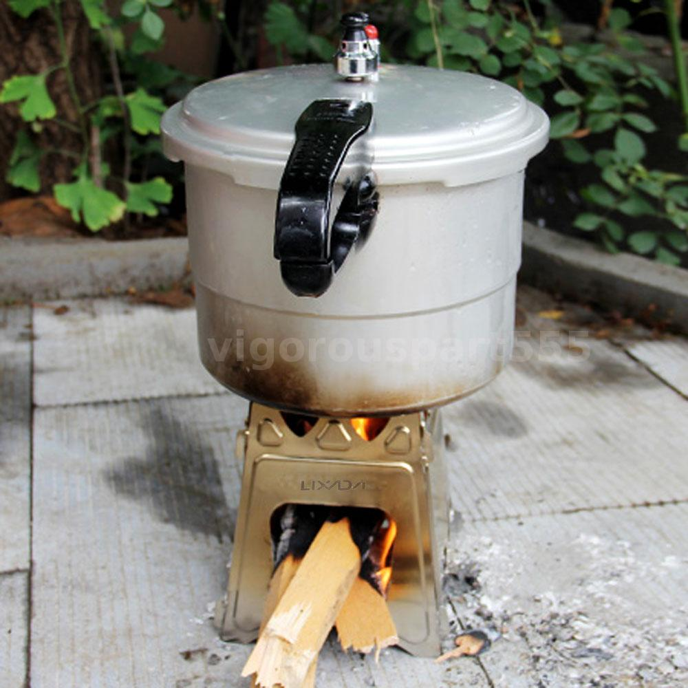 LIXADA Compact Folding Wood Stove for Outdoor Camping ...
